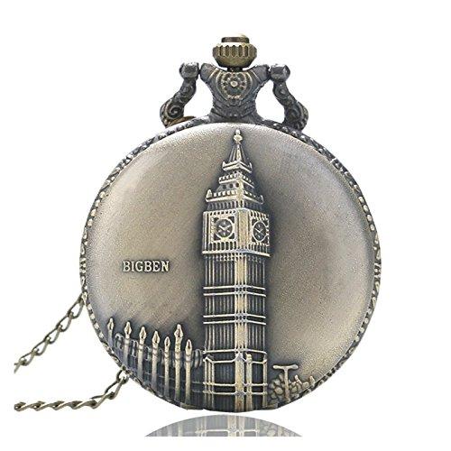 Big Ben Klok van Londen Geborsteld Brons Effect Antiek/Vintage Case Heren Quartz Pocket Horloge Ketting - Op 32