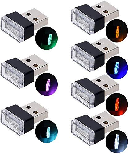 Auto USB Beleuchtung,USB Innenbeleuchtung LED Atmosphäre Licht Ambientebeleuchtung Innenraumbeleuchtung Auto Innenraum Deko.(7 Farben, Rot/Grün/Blau/Gelb/Weiß/Lila/Eis-Blau) (Sieben Farben)