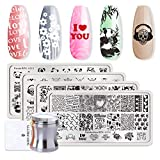 Born Pretty 4Pc Plaque d'estampage Hipster Rectangle Manucure Valentine's Day Nail Art Modèle d'image et métal argenté Clear 3.9cm Silicone Jelly Stamper & BORN PRETTY Scraper