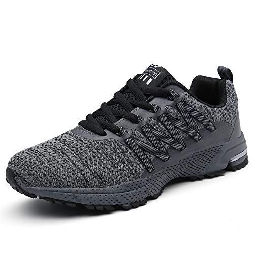 SOLLOMENSI Laufschuhe Damen Herren Sportschuhe Straßenlaufschuhe Sneaker Joggingschuhe Turnschuhe Walkingschuhe Schuhe 42 EU B Grau