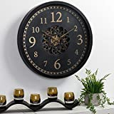 Glitzhome 22.83' D Large Decorative Wall Clock, Metal Morden Oversized Battery Operated Round Clock with Moving Gears Wall Decorative for Home Office School