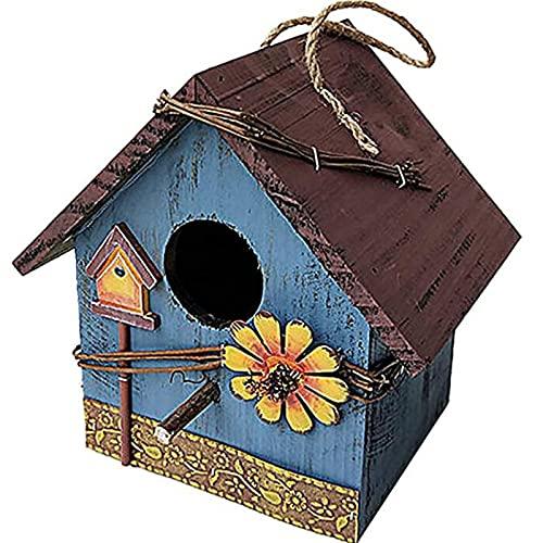 OMVOVSO Casas de Aves de Madera, Patio Villa Balcón Colgando Rainfest Birdhouses Madera Jardín Pájaros Aparatos de Intemperie Pájaros Naturales para Colgar en el jardín y balcón,2
