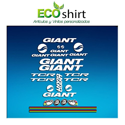 Ecoshirt MD-JUK5-61WH Pegatinas Frame Cuadro Giant TCR Am20 Stickers Aufkleber Decals Adesivi Bike BTT MTB Cycle, Blanco