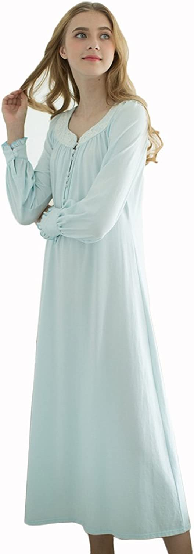 bluee Retro palace lace pajamas cotton cute princess women long sleeves pajamas long section Home Clothing ( color   bluee , Size   L )