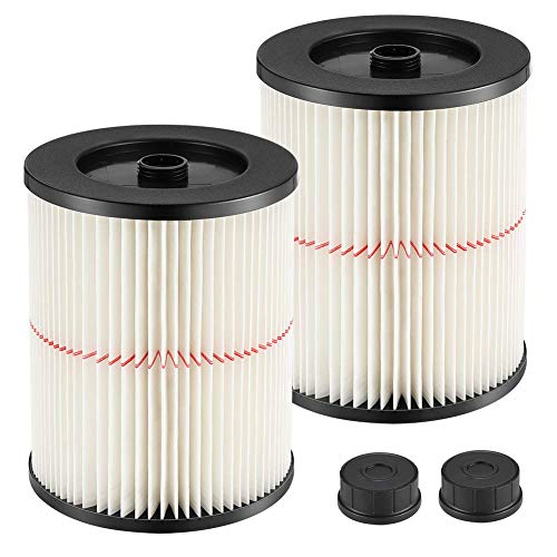 isinlive 2 Packs 9-17816 Red Stripe Vacuum Cartridge Filter Replacement Compatible with Craftsman Wet/Dry Shop Vacs 5/6/8/12/16/32 Gallon & Larger