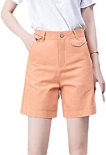 OTW Womens Wide Leg Loose Fit Solid Color Casual Cotton Shorts