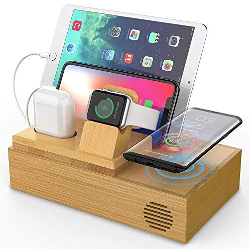 Draadloze oplader, laadstation, QI Draadloze oplader, Fast Draadloze oplader, Wireless Charging Stand, Bamboo laadstation, Wood laadstation