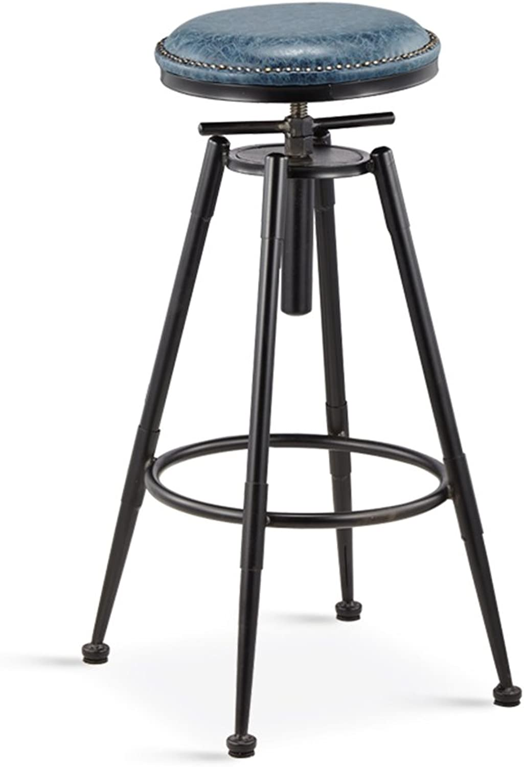 Retro bar Stool - American bar Stool Coffee Chair high Stool Makeup Stool Beauty Stool Home Back Chair Retro Hair Work Stool (Four colors Optional) -Home Furniture (color   bluee, Size   A)