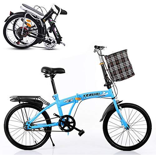 TopBlïng Barato Adulto Bicicleta Plegable,Marco De Aluminio Bicicleta De Ciudad con Una Canasta,Mujeres Folding Bike 20 Pulgadas Mini Velocidad única Bike Estudiantes Bicicleta-Azul