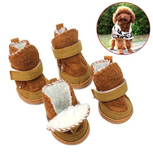UEETEK Scarpe per Cani Stivali Caldi per Cani Cuccioli Antiscivolo in Marrone