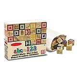Preis am Stiel Hölzerne ABC - 123 Blöcke | Bausteine | Buchstaben | Zahlen | Spielzeug | Kinder | Kreativ | Holzwürfel | Geschenk für Kinder
