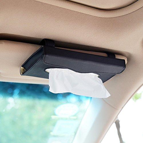 Car Tissue Holder, Sun Visor Napkin Holder, Car Visor Tissue Holder, PU Leather backseat tissue case holder for car,Vehicle(black)