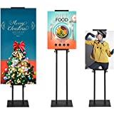 KOOV Poster Board Stand Floor Sign Holder - Heavy Duty Double-Sided Pedestal Sign Holder with Non-Slip Mat Base, Adjustable Height up to 75 Inches for Indoor Outdoor Board & Foam Display 1Pack Black