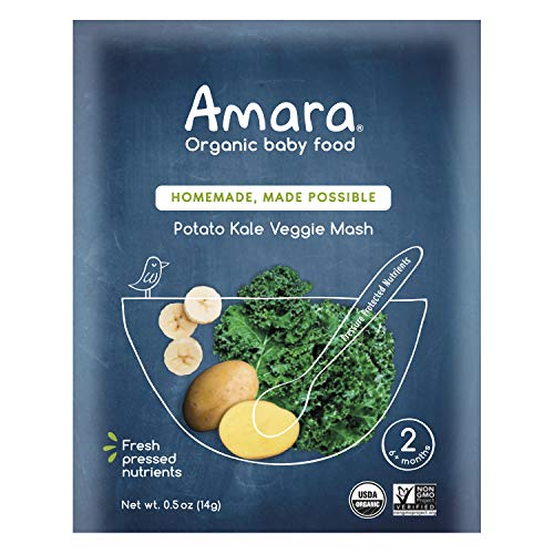 Amara Baby Food, Kale Potato, Healthy Baby and Infant Food, Organic Fruits and Veggies for Baby's First Meals - Stage 1 (7 Pouches)