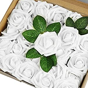 Vlovelife Artificial Flowers with Stem, 25pcs White Real Looking Roses, Fake Rose Flowers with Stem for DIY Wedding Bouquets Centerpieces Arrangements Birthday Baby Shower Home Party Decor