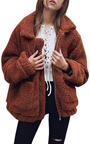 ECOWISH Damen Mantel Revers Faux Für Lose Langarm Outwear Tasche Reißverschluss Winterjacke Mode Kurz Coat Kaffee XL