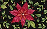 Toland Home Garden Poinsettia 18 x 30 Inch Decorative Floral Floor Mat Christmas Flower Doormat - 800116