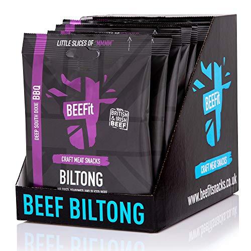 BEEFIT Snacks 10x30g Hohes Protein Bilton, Süd Dixi BBQ, Gesund, Wenig Zucker, BEEF Jerky
