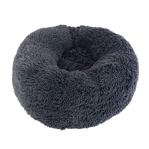 Mkiki Beruhigendes, rundes Haustierbett, warm und weich, bequem zum Schlafen im Winter 60 cm