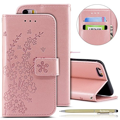 Find Discount Herbests Compatible with iPhone 6S Plus 5.5 Wallet Case Embossed Plum Flower Luxury PU...