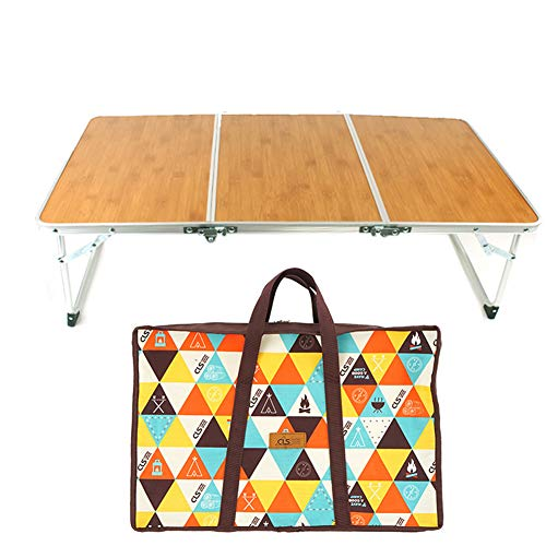 IUANUG Outdoor Aluminium-Legierung Folding tragbarer Grill Hocker, Klapptisch Picknick-Grill Bambus Holz Bambus-Board Tabelle Camping bewegliche beweglicher Tisch Einfachen