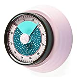 Kitchen Manual Egg Timer, Pomodoro Visual Magnetic Timer for Kids, No Battery Mechanical Countdown Loud Alarm Timers for Cooking Baking Teaching Study (Pink)