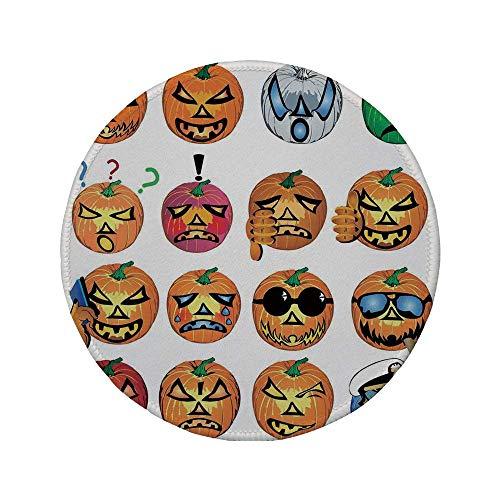 Rutschfreies Gummi-rundes Mauspad Halloween-Dekorationen geschnitzter Kürbis mit Emoji-Gesichtern Halloween-Humor Hipster-Monster-Kunst Orange 7.9