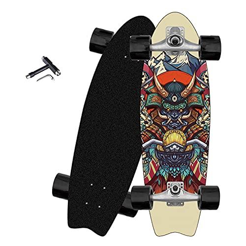 VOMI Pumping Skateboard Profesional Surfskate Carver CX4 Truck Carving Skateboards Beginner 32' Cruiser Tabla de Surf Skate Completo con T-Tool, 8 Capas Madera de Arce, para Niños Teens Adultos,D