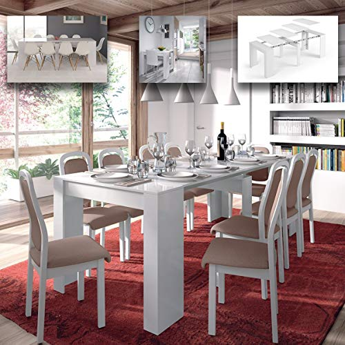 MarinelliGroup Tavolo allungabile Fino a 237 cm consolle per Soggiorno Cucina in melamina 50 x 90 x 78 H cm Flora (Bianco Lucido)