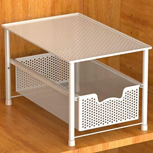Simple Houseware Stackable Under Sink Cabinet Sliding Basket Organizer Drawer White