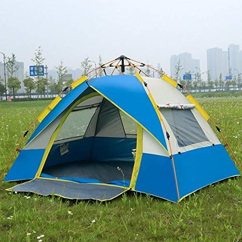 Automatische campingtent voor 3-4 personen hydraulisch tent, dubbellaags, anti-uv-waterdicht, koepelvormige strandtent met draagtas