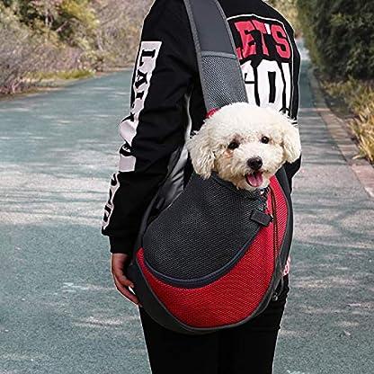 MaoXinTek Pet Sling Carrier Bag, Safe Dog Slings Backpack for Small Puppy Cat 2.5kg/5.5LB Breathable Mesh Travel Carrier Pouch, Shoulder Cross body Bag Hand Free for Outdoor Walking Subway 2