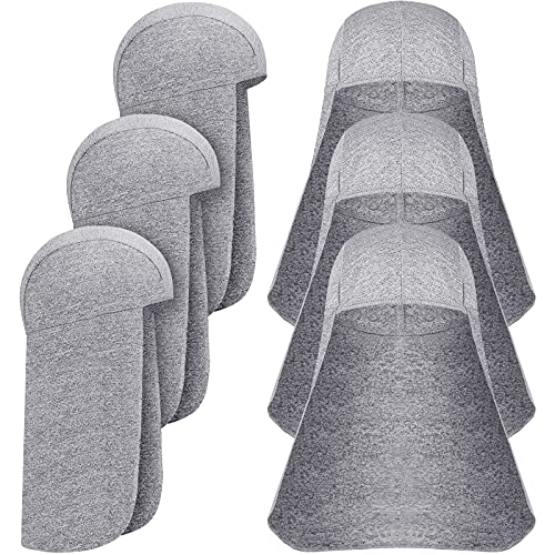 6 Pieces Hard Hat Sun Shade Neck Shade for Hard Hat Quick Dry Skull Cap (Light Gray)