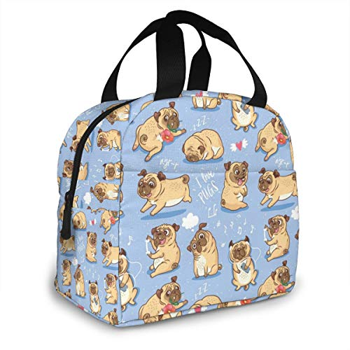 Cute Funny Pug Lunch Bags for Women Men Insulated Lunch Box Tote Bag with Front Pocket For Office Picnic