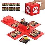 KUEEN Funda para Almacenamiento de Juegos, para Nintendo Switch con hasta 16 Juegos de Nintendo Switch Organizador de Tarjeta de Juego Contenedor de Viaje (Mario Red)