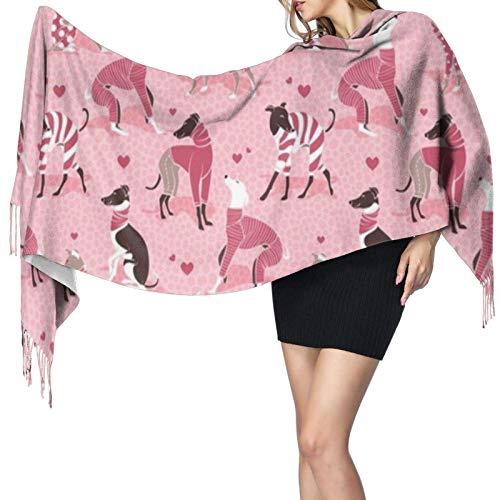 Bufandas de mujer Invierno Largo Suave Cálido Enamorado Galgos Pastel Rosa Fondo Pijamas de perro rojo Cashmere-like Pashmina