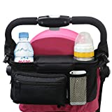 Manzoo Stroller Organizer with Cup Holders Universal Stroller Accessory for Storage and Bottle Holder