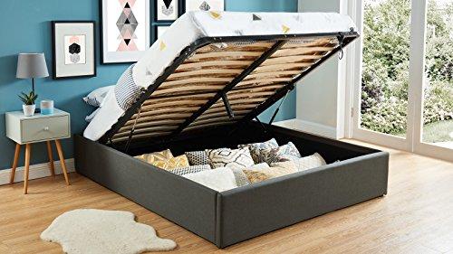 HOMIFAB Lit Coffre 160x200cm Anthracite + sommier à Lattes - Collection Handy.