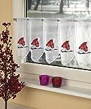 GardTex Bistrogardine, Kaffehausgardine 'Weihnachts-Katze'. Farbe: rot, 30x95 cm