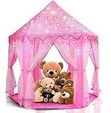 LimitlessFunN Princess Tent Bonus Star Lights Girls 55' x 53' Large Hexagon Playhouse Kids Castle Play Tent for Children, Indoor & Outdoor