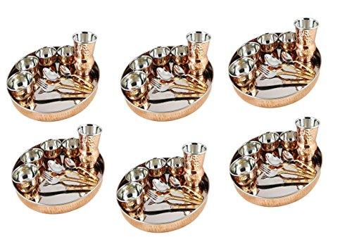 King International - Juego de vajilla tradicional de cobre indio, juego de 6
