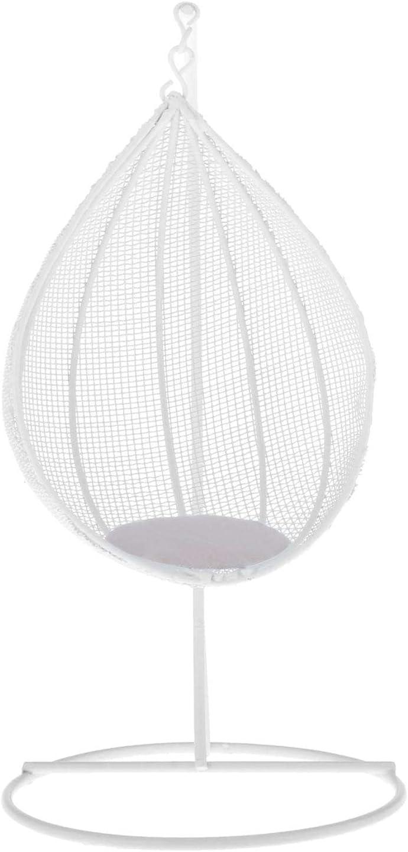 #N/A Mini Iron Tear Drop Swing Chair Hammock Garden Porch Furniture Ornaments for 1/12 Scale Dollhouse - White