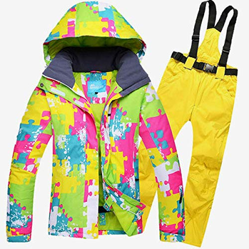 JSGJHXFFemale Skipak voor ski- of snowboards, outdoor, waterdicht, winddicht pak, winter thermische mantel en broek