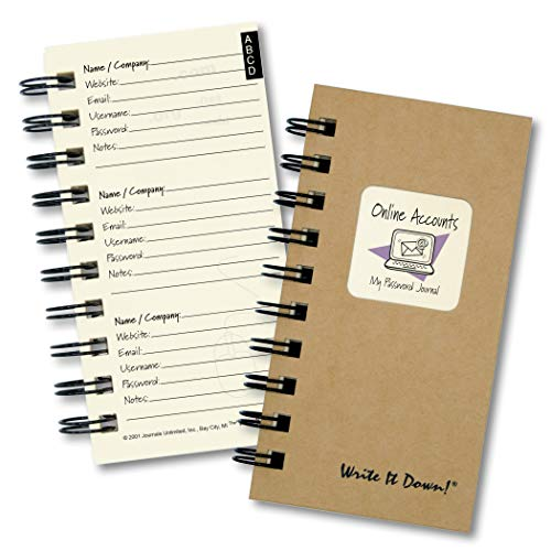 """Journals Unlimited """"Write it Down!"""" Series Guided Journal, Online Accounts, My Password Journal, with a Kraft Hard Cover, Made of Recycled Materials, 3.5�x8.5�"""