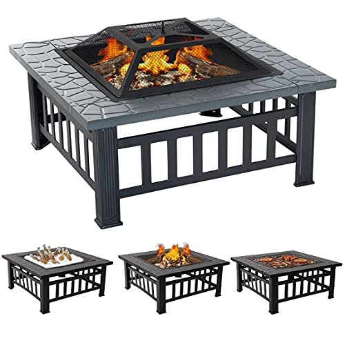 Fire Pit Table with BBQ Grill Shelf, 3 in 1 Square Firepit for Barbecue, Heater, Ice Pit, Metal Brazier for Garden Patio Outdoor, with Waterproof Cover