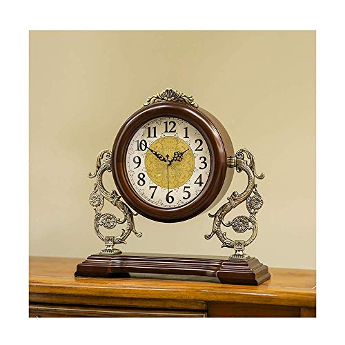 Reloj de chimenea con números arábigos y esfera de escritorio de madera, reloj de escritorio retro, silencioso, funciona con batería, decoración del hogar (color marrón