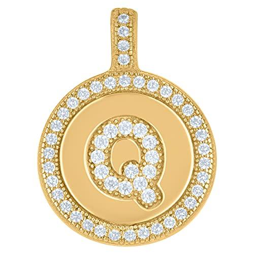 Collar con colgante de plata de ley 925 con circonita cúbica unisex con nombre de letra de monograma personalizable con inicial del alfabeto Q disco