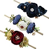 Baby Girl Floral Headbands Set - 3pcs Flower Crown Newborn Toddler Hair Accessories by mligril(1-6 years old)