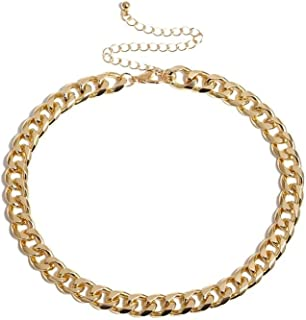 ARZONAI Gold Stainless Steel Fashion Link Chain Choker Gold Simple Short Female Collar Chain Necklaces for Women and Girls