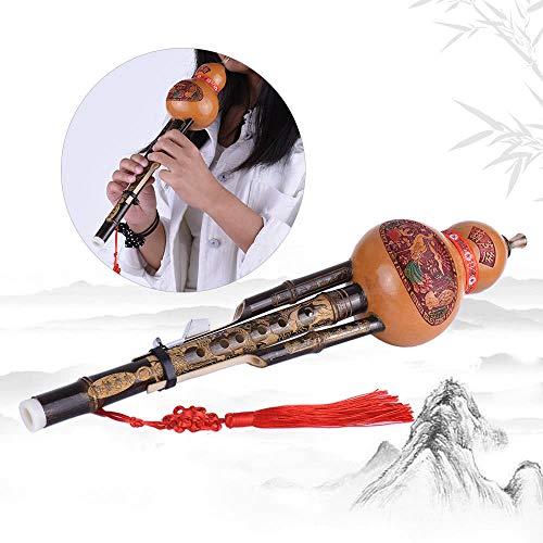 QKP Chinesische Handgemachter Schwarzer Bambus Hulusi Gourd Cucurbit Flöte Volksmusikinstrument Tonart C Mit Fall Für Anfänger Music Lovers